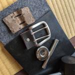 壊れてしまった革ベルトのバックル部分の修理